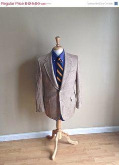ON SALE Men's Wool Blazer by Cricketeer - Sport Coat Beige Herringbone 38S Preppy Menswear Hacking Jacket Norfolk on Etsy, $120.90 CAD