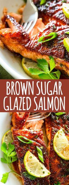 Brown Sugar Glazed Salmon (The BEST Pan Seared Salmon Recipe Ever!)Brown Sugar Glazed Salmon Recipe – Crispy on the outside, tender on the inside, this sweet and tangy salmon recipe is an easy weeknight meal that will quickly have everyone coming bac Seared Salmon Recipes, Pan Seared Salmon, Recipes For Salmon, Simple Fish Recipes, Salmon Recepies, Delicious Salmon Recipes, Salmon Belly Recipes, Salmon Marinade Baked, Easy Recipes