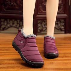 Women's Warm Waterproof Cotton Shoes Nylon Snow Boots Winter Ankle Boots Non-slip Short Boots Botas Stiefel Bottes winter boots Ankle Heels, Low Heels, Ankle Boots, Shoe Boots, Warm Snow Boots, Snow Boots Women, Slip On Boots, Fur Boots, Wine Shoes