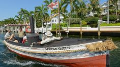 The historic vessel which provided the setting for Humphrey Bogart's only Oscar winning performance has been resurrected from the scrapheap by a movie loving Florida couple.  The African Queen is a 100 year old steam boat famed for its starring role in the 1951 hit movie of the same name.