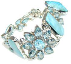 $172.25 Delightful Ocean! Blue Larimar Sterling Silver Bracelet at www.SilverRushStyle.com #bracelet #handmade #jewelry #silver #larimar