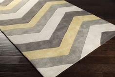 Cosmo Chevron Area Rug in Lime and Gray  Color (Pantone TPX): Ash Gray (13-0000), Gray (17-0205), Lime (14-1025), Gray (17-1500)