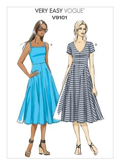 Buy Vogue Very Easy Women's A-Line Dress Sewing Pattern, 9101 from our Sewing Patterns range at John Lewis & Partners. Vogue Patterns, Easy Sewing Patterns, Clothing Patterns, Dress Patterns, Bag Patterns, Mccalls Patterns, Vintage Patterns, Women's A Line Dresses, Simple Dresses