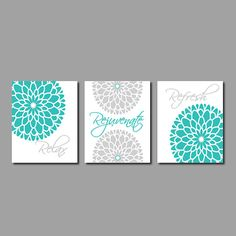 Modern Floral Flower Flourish Artwork Set of 3 Trio Prints Relax Rejuvenate Refresh Turquoise Grey Wall Art Decor Bathroom Bath Home Picture on Etsy, $25.00