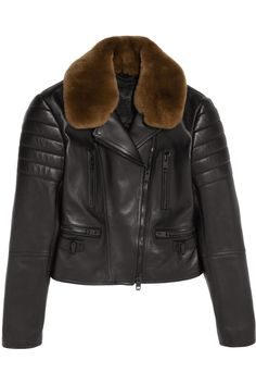 Burberry Prorsum | Rabbit-trimmed leather biker jacket | NET-A-PORTER.COM
