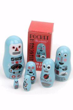 Ingela P Arrhenius nesting dolls - Pocket Robots by OMM Design | the KID who