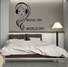 Wall Decal Music Headphones Teen Girl Room Art Mural Vinyl Stickers (ig2746) #wallstickers4you