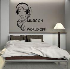 Wall Decal Music Headphones Teen Girl Room Art Mural Vinyl Stickers (ig2746)  #wallstickers4you