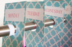 Back To School Organization DIY closet dividers- use a fun paper! http://www.papersource.com/giftwrap/index.html