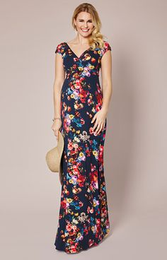 Perfect dress for a Vintage Garden Themed Baby Shower. The Floral Maxi Maternity Dress by Tiffany Rose.