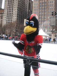 Chicago Blackhawks mascot, Tommy Hawk, at Millenium Park