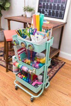 Kids Craft Storage, Craft Organization, Kids Homework Station, Ikea Cart, Ikea Raskog, Raskog Cart, Art Cart, Classroom Decor, Kids Bedroom