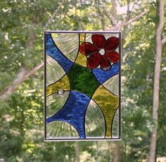 Stained glass suncatcher window panel, abstract modern contemporary art, colorful flower, Summer home decor, stained glass flower suncatcher