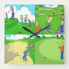 For Funny Cartoons of Golf. Square Wall Clock golf diy projects, inspirational golf quotes, golf sayings Golf Training Aids, Training Plan, Golf Quotes, Golf Sayings, Golf Cards, Sports Art, Funny Cartoons, Party Themes, Clock