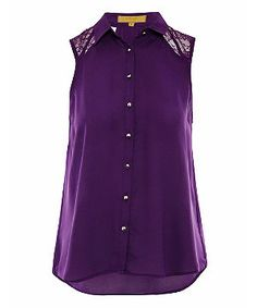 purple lace shirts | Purple (Purple) Dolly & Delicious Purple Lace Panel Sleeveless Shirt ...