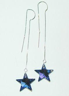 JBB Sparkly Sapphire Aurora Borealis Swarovski Star Bead Earrings on Sterling Chains Bare Naked Earrings