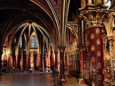 I'd love my basement to look like Sainte Chapelle's. Sainte Chapelle Paris, Saint Chapelle, Carrie, We Are Golden, Conceptual Design, Now And Forever, Barcelona Cathedral, Medieval, Beautiful Places