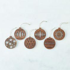 Laser Cut Walnut Ornaments