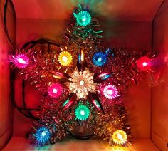 Vintage Christmas tinsel tree topper star