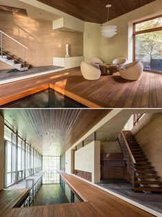 An indoor pool with nearby stairs that lead to a gym. Limestone Pavers, Japanese Soaking Tubs, Sliding Screen Doors, Roof Covering, Window Frames, Ceiling Windows, Swimming Pools, Stairs, Architecture
