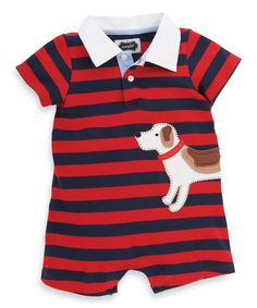 Look at this Mud Pie Red Stripe Dog Polo Romper - Infant on #zulily today!