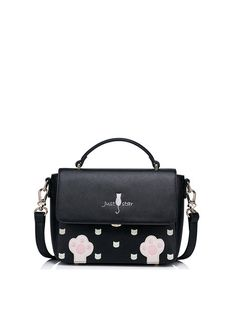 Black Small Sweet Embroideried PU Satchel
