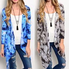 Tie dye Sweater Cardigan Tie-dye open drape cardigan in sky blue or charcoal.  Sizes: S M L. True to Size  comment below with your size and color choice and I will create a new listing for you to purchase. Sweaters Cardigans