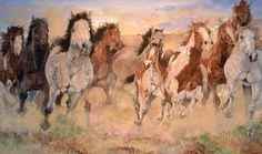 """In Front Was the Mustang Herd"" fine art print by Jerry Pinkney available at the R. Michelson Galleries"