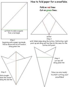 How to fold paper for a snowflake