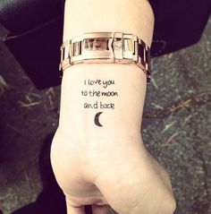 best wrist cute and tiny tattoos for girls - Wrist words tattoo designs are always a great choice – The way she incorporates with a moon symbol the wrists makes the tattoo look so much cleaner on wrist. below are 30+ #wrist #tattoo #designs