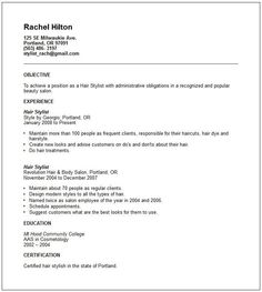 Fashion Stylist Resume Objective Examples   Http://www.resumecareer.info/  Cosmetologist Resume Objective
