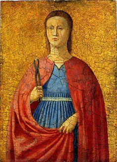 St. Apollonia by Piero della Francesca, painter, or workshop https://inpress.lib.uiowa.edu/feminae/DetailsPage.aspx?Feminae_ID=28848