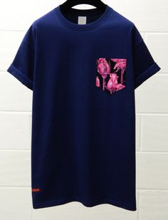 Men's Pink Roses Pattern Navy Blue Pocket by HeartLabelTees