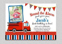 Fireman Birthday Invitation  Fire Truck Birthday Invitation by TheTrendyButterfly,
