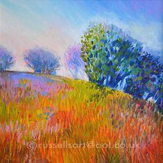 oil pastel art | Russell Lee - Painting, Art & Design: Misty Meadow Morn - Oil Pastel