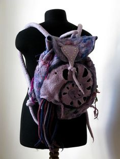 nautilus backpack-felted by abdullah laila Felt Phone Cases, Felt Purse, Felt Bags, Nuno Felting, Nautilus, Handmade Bags, Wool Felt, Fashion Backpack, Purses And Bags