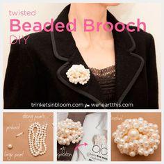 DIY Jewelry: Twisted Pearl Brooch - #beads #jewelrymaking #tutorial
