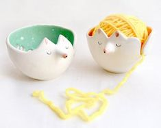 Ceramic Fox Yarn Bowl/ Knitting Bowl/ Crochet Bowl, Decorated in Orange Color with White Polka Dots Inside. Ready To Ship Baby Knitting Patterns, Pattern Baby, Baby Girl Patterns, Baby Hats Knitting, Knitted Hats, Crochet Pattern, Kids Winter Hats, Warm Winter Hats, Unique Birthday Gifts