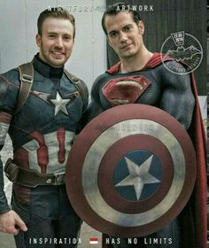 Chris Evans as Captain America And Henry Cavill as Superman Marvel Heroes, Marvel Characters, Batman Vs Superman, Spiderman, Univers Dc, Marvel Captain America, Captain America Costume, Superhero Movies, Christen
