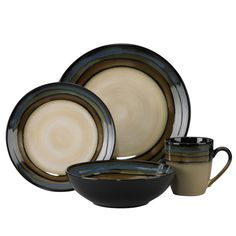 This quality made dinnerware set will serve your family for meal after meal. It is decorated in coordinating colors that will match any dining table with style.