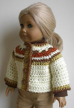 American Girl Doll Sweater Jacket for 18 inch by Lavenderlore