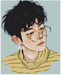 Aesthetic cute boy drawing Blue and Yellow main colours Features: Glasses and Freckles Kpop Fanart, Baekhyun Fanart, Inspiration Art, Art Inspo, Pretty Art, Cute Art, Kpop Anime, Anime Guys, Bel Art