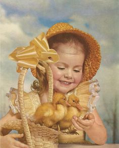 Vintage Easter Girl Ducklings Color Lithograph