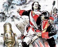 русская  армия под командованием Петра Великого над шведами в Полтавском сражении 1709 года