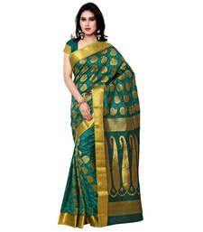 Buy Eid Special green art silk printed saree with blouse kanchipuram-silk-saree online