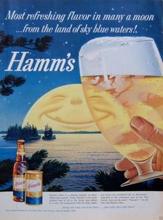 1959 Vintage Ad Hamm's Beer Toast to Smiling Moon on Horizon Over Lake | eBay