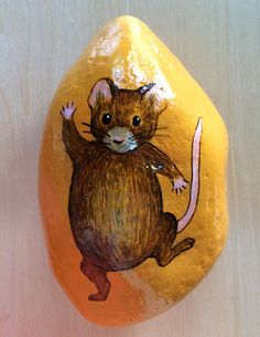 Dancing, waving mouse painted rock paperweight