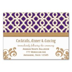 Purple And Gold Moroccan Reception Enclosure Card Large Business Cards Pack Of 100 Carte