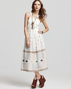 Free People Dress - Shiftley Embroidered Halter Dress