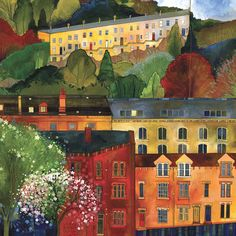 """""""From her home in Hebden Bridge Yorkshire Kate Lycett creates the most amazing art. She has a Textiles background and I think this is why I'm attracted to the colours and almost stained glass effect of her work. Fork Art, Composition Art, Expressive Art, City Art, Art Furniture, Illustration Art, Illustrations, Beautiful Landscapes, Art Images"""